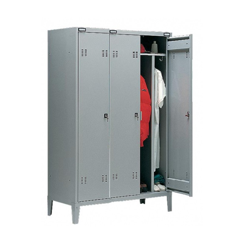 Closet Monoblock Metal Locker With Partition Dirty Clean 3 Seater Lockers