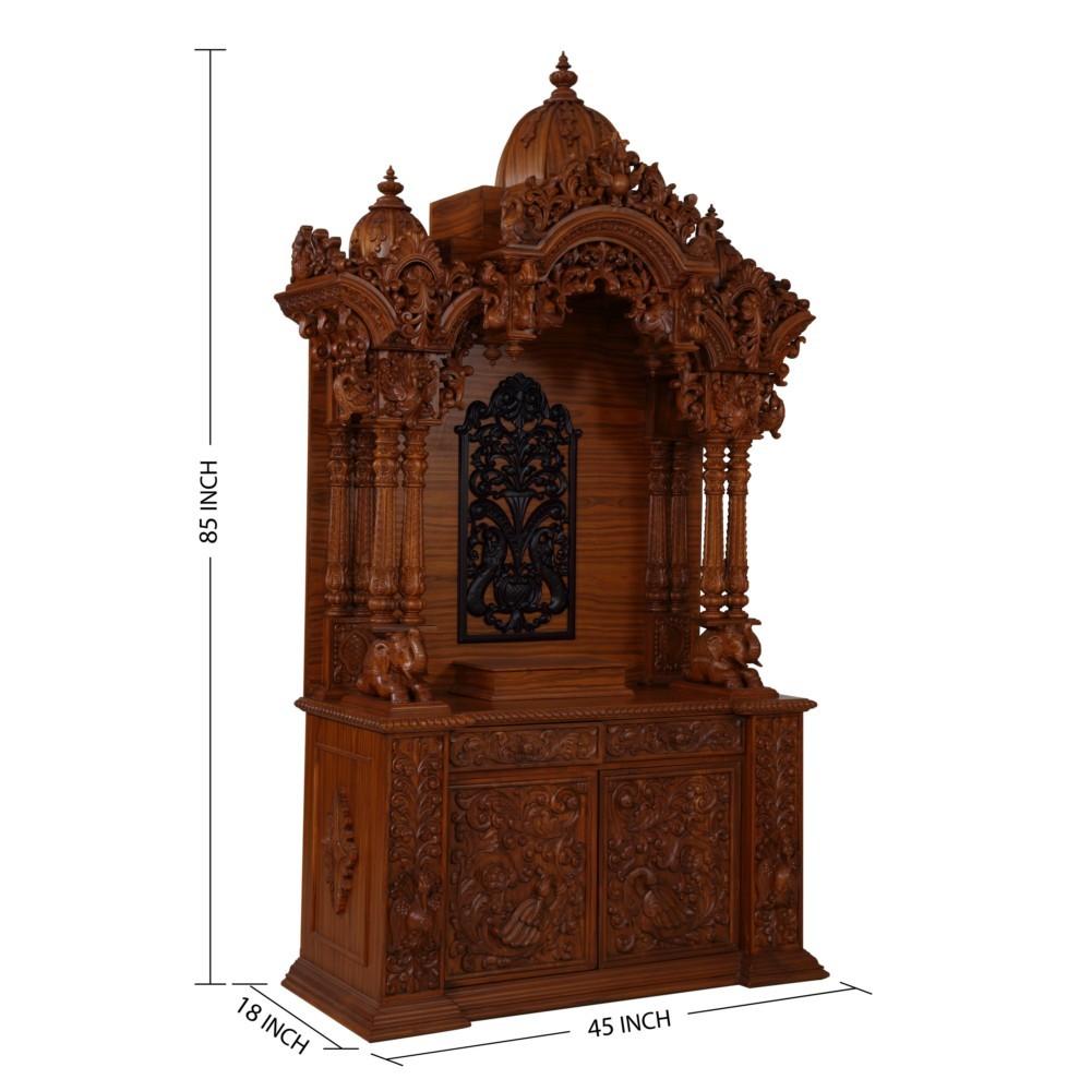 Indian Spiritual Teak Wood Carving Home Pooja Mandir L45 X
