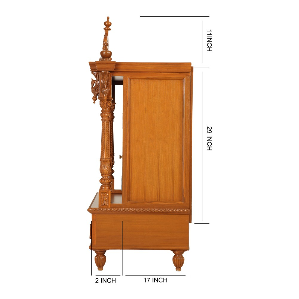 Indian Teak Wood Pooja Cabinets Designs L29 X W19 X H50