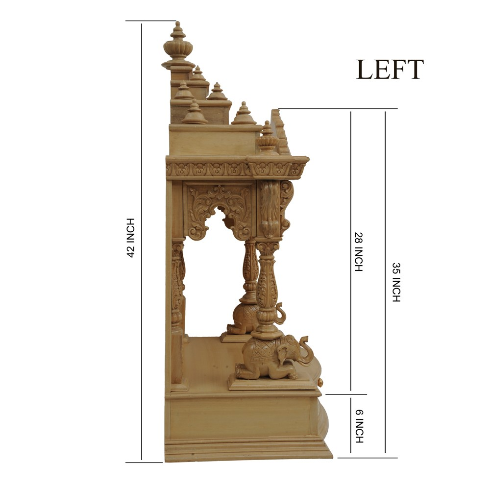 Teak Wood Puja Mandapam For Home L29 X W16 X H42 Kapasi